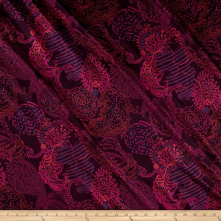 Silk Gabardine Floral Purple Fabric
