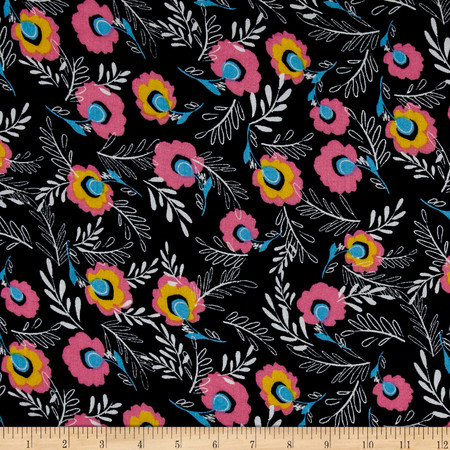 Simple Floral Rayon Crepe Print Navy/Pink Fabric By The Yard