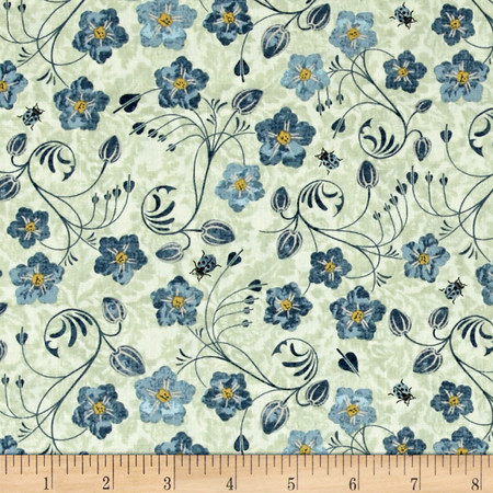 Simple Pleasures Floral Allover Light Green Fabric By The Yard