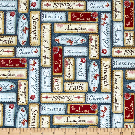 Simple Pleasures Words Blue Fabric By The Yard