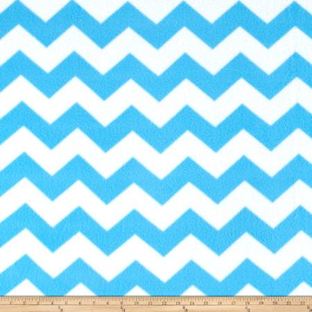 Simply Chevron Fleece Blue Fabric By The Yard