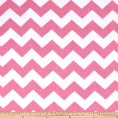 Simply Chevron Fleece Pink Fabric