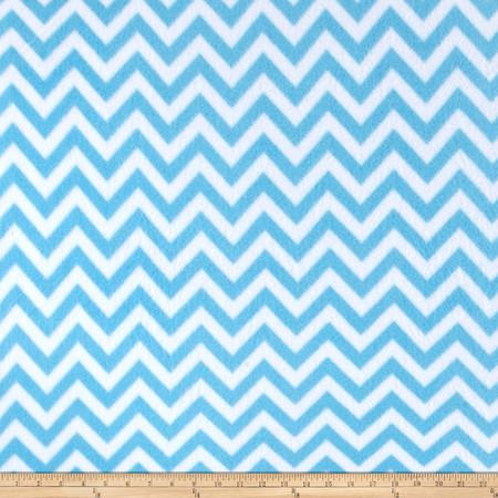 Simply Chic Fleece Chevron Blue Fabric By The Yard