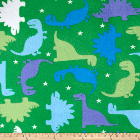 Simply Dinosaur Story Fleece Green Fabric By The Yard