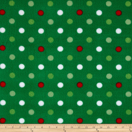 Simply Fleece Dots Green Fabric By The Yard