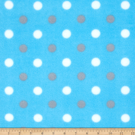 Simply Fleece Simply Dot Blue/Gray Fabric By The Yard