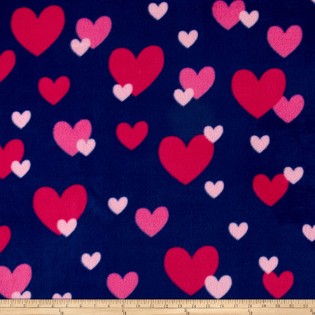 Simply Raining Heart Navy/Pink Fabric By The Yard