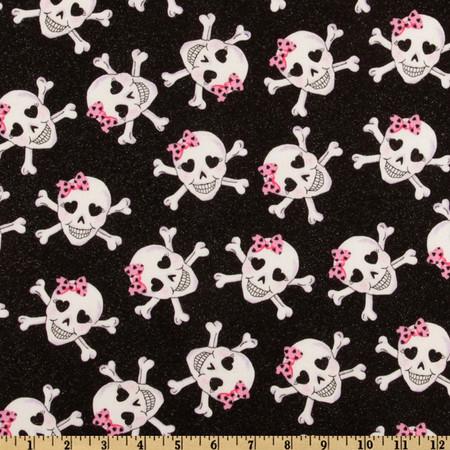 Skulls Glitter Glam Black Fabric