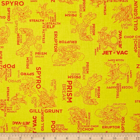 Skylanders Outlines Sunshine Fabric By The Yard
