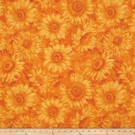 Slice of Sunshine Sunflower Texture Orange Fabric