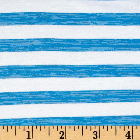 Slub Hatchi Sweater Knit Stripe Turquoise/White Fabric