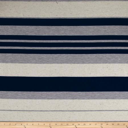 Slub Stripe Jersey Knit Navy/Heather/Oatmeal Fabric By The Yard