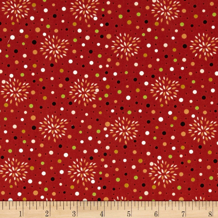 Sly as a Fox Floral Burst Orange/Red Fabric By The Yard
