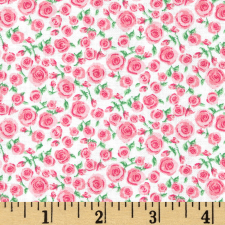 Small Rosette Bright Pink Fabric By The Yard