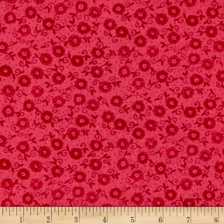 Small Scroll Flower Pink Fabric By The Yard