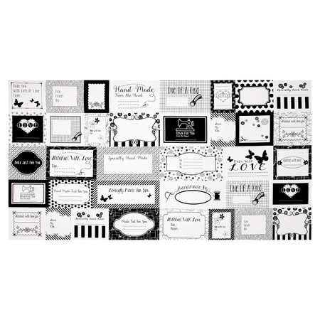 Small Talk Sewing Label Panel Black Fabric