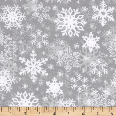 Snow Buddies Flannel Snowflakes Gray Fabric By The Yard