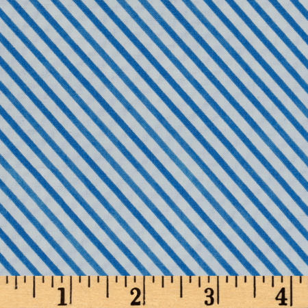 Snow Fun Diagonal Stripe Blue Fabric By The Yard