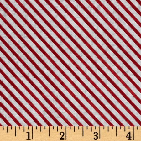 Snow Fun Diagonal Stripe Red Fabric By The Yard