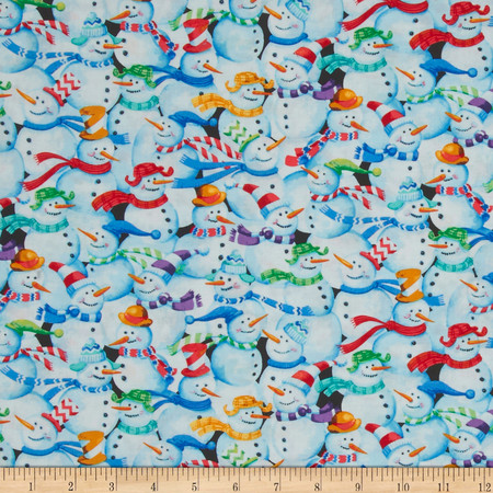 Snow Fun Packed Snowmen Multi Fabric By The Yard