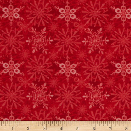 Snow Fun Snowflake Red Fabric By The Yard