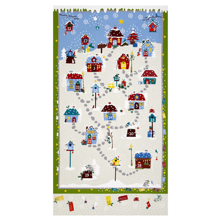 Snow Village 25'' Advent Calander Cream Fabric By The Yard