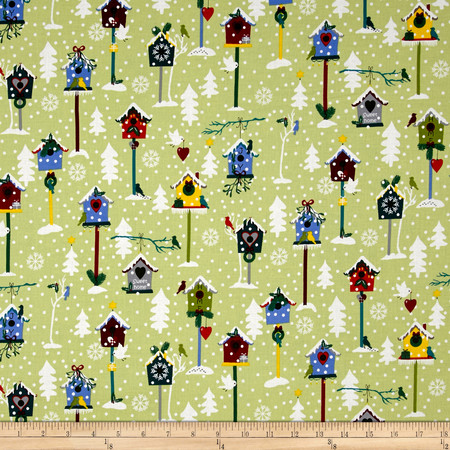 Snow Village Birdhouses Lime Green Fabric By The Yard