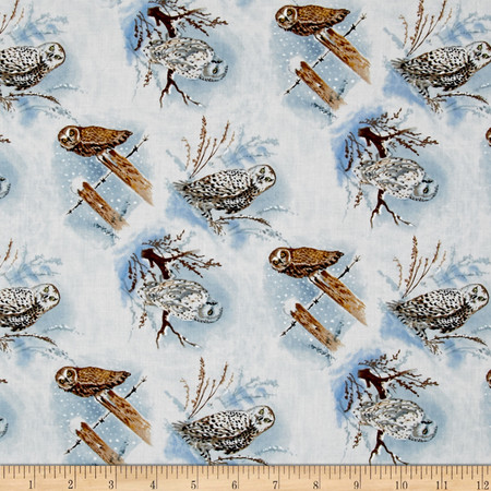 Snowscapes Owls Light Blue Fabric By The Yard