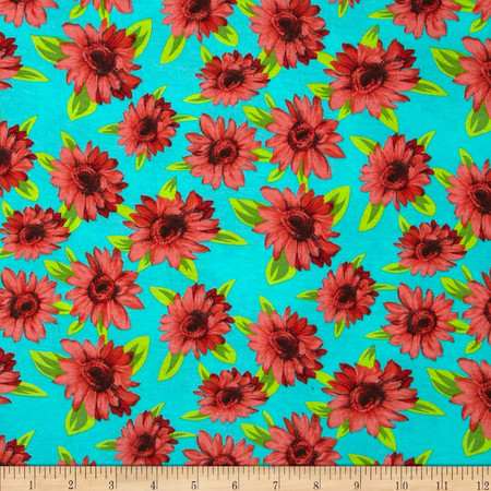 Soft Jersey Knit Floral Red/Turquoise/Green Fabric