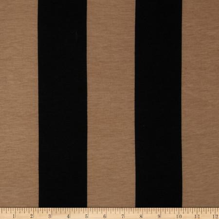 Soft Jersey Knit Large Stripes Black/Tan Fabric