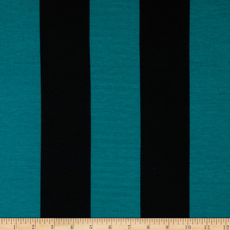 Soft Jersey Knit Large Stripes Jade/Black Fabric