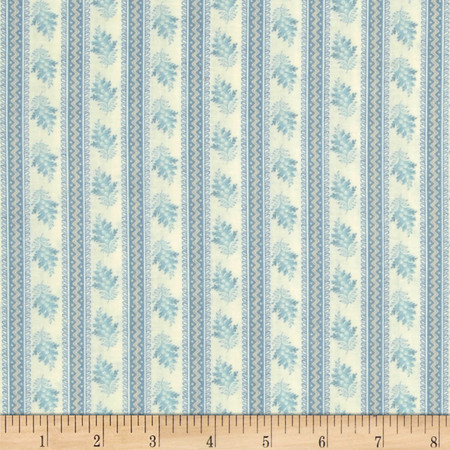 Softly Spoken Stripes & Flowers Cream/Teal Fabric