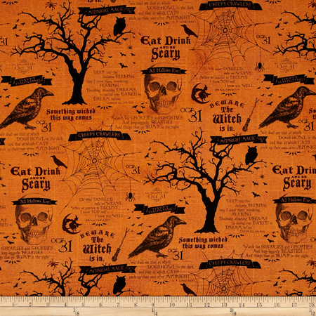 Something Wicked Large Allover Orange Fabric