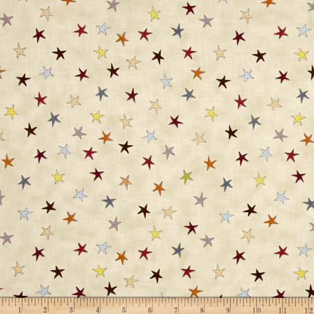 Sophie Tossed Stars Cream/Multi Fabric By The Yard