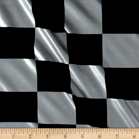 Spandex Lame Knit Checkerboard Print Black/Silver Fabric By The Yard