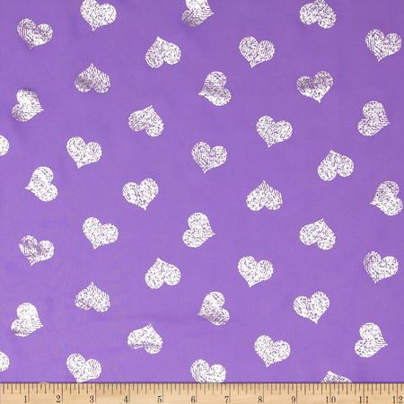 Sparkle Crepe Chiffon Hearts Purple Fabric