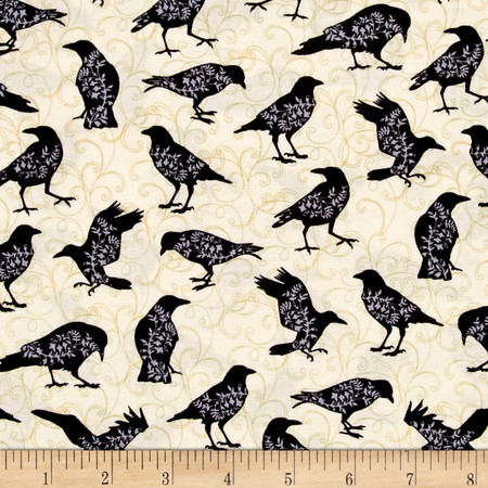 Spellbound Bird Silhouettes Cream Fabric By The Yard
