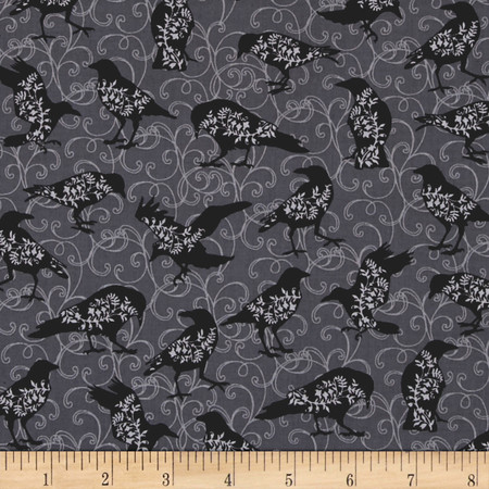 Spellbound Bird Silhouettes Grey Fabric By The Yard