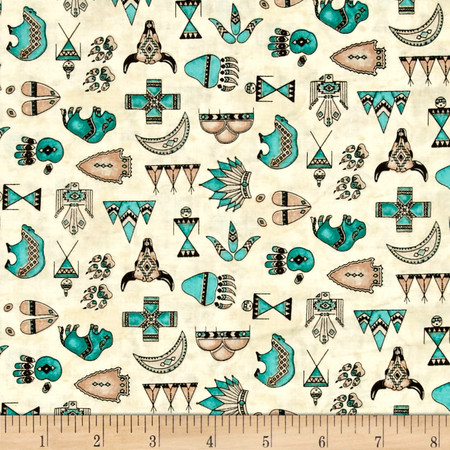 Spirit Of The Buffalo Native American Symbols Ivory Fabric By The Yard