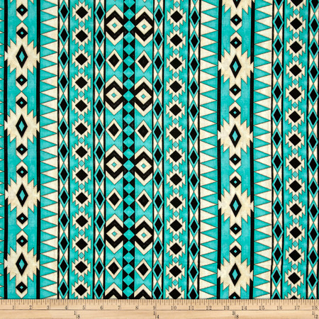 Spirit Of The Buffalo Navajo Stripe Turquoise Fabric By The Yard