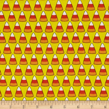 Spooky Candy Cones Yellow Fabric