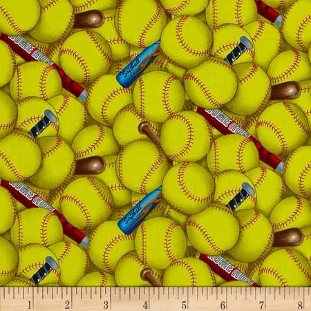 Sports Softball Yellow Fabric By The Yard
