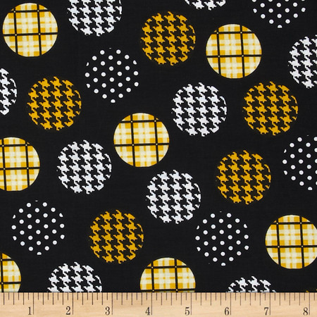 Spotlight Large Patterned Dots Golden Yellow/Black Fabric By The Yard