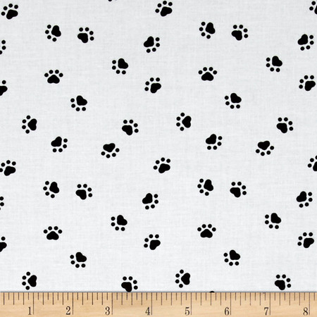 Spots Perfect Day Paws White Fabric