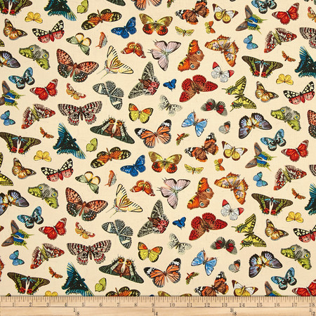 Spring in Paris Butterfly Cream Fabric By The Yard