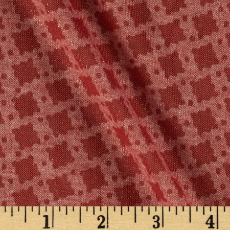 Spun Polyester Tissue Jersey Knit Sparkle Shapes Rust/Gold Fabric