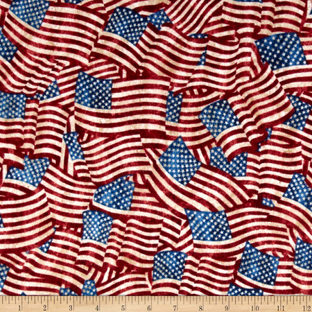 Stars & Stripes Flannel Flags Navy Fabric By The Yard