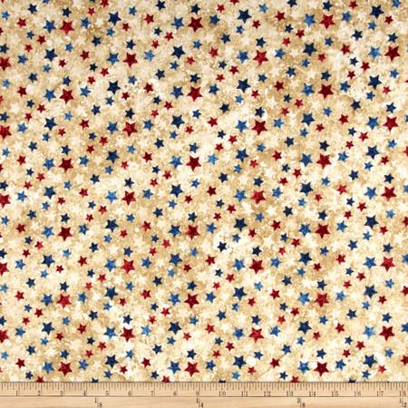 Stars & Stripes Flannel Stars Beige Fabric