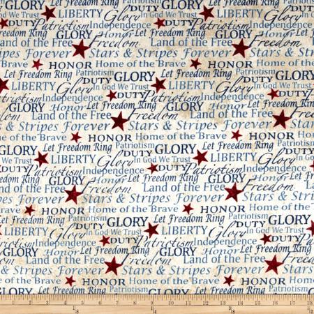 Stars & Stripes Flannel Words Beige Fabric