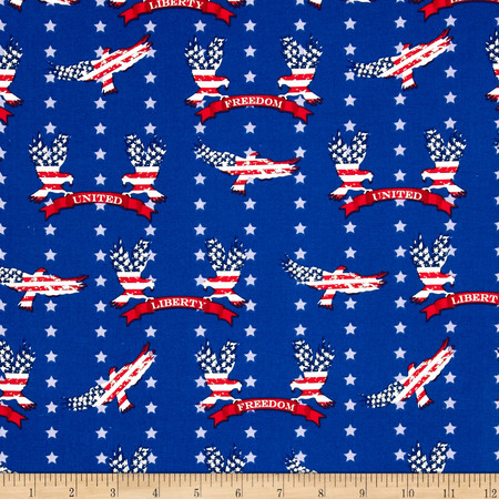 Stars & Stripes II Liberty Eagles & Stars Red/White/Blue Fabric